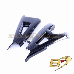 2016-2019 Kawasaki ZX10R Carbon Fiber Swingarm Cover, Twill Weave Pattern