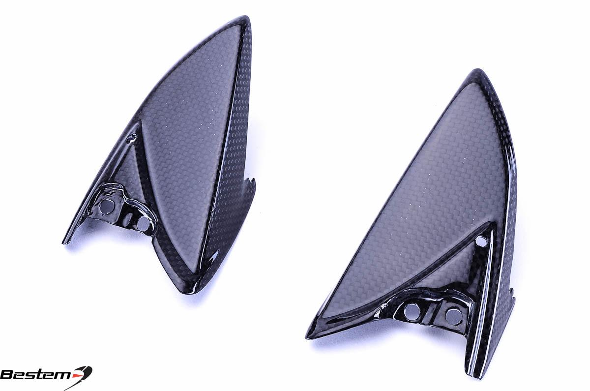SUZUKI GSXR 600 750 Carbone talon Gardes 2011-17 in Sergé Brillant Tissage Fibre Fiber