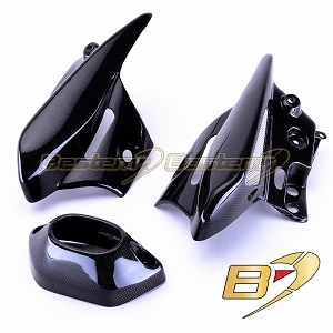 Kawasaki ZX6R 2005 - 2006 100% Carbon Fiber Heat Shield Set